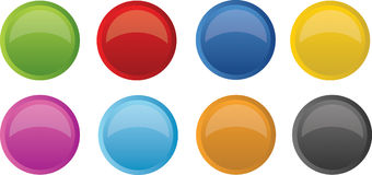 Glossy bright buttons Stock Photos