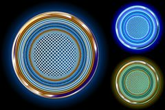 Glossy Bright chrome circle in colors Stock Image
