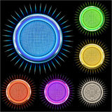 Glossy Bright chrome Star circle in colors Stock Photography