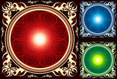 Glossy Bright Mandala Circle In Ornate Frame Royalty Free Stock Images
