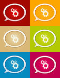 The glossy bubble with cogwheel icon collection Royalty Free Stock Photo