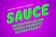 Glossy bubble comical font design, colorful alphabet. Typeface. Color Swatches control royalty free illustration