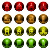 Glossy building icons Stock Image