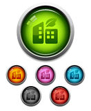 Glossy buildings button icon Stock Image
