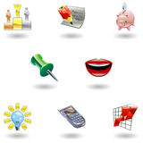 Glossy Business And Office Icon Set Stock Images