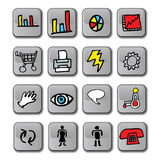 Glossy Business Icons. A set of 3D business icons that include charts, shopping cart, printer, speech, touch, sight, accessibility, male and female vector illustration