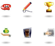 Glossy Business and Office Icon Set Royalty Free Stock Photography