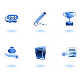 Glossy Business and Office Icon Set Royalty Free Stock Image
