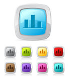 Glossy button - bar chart Royalty Free Stock Photography