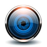 Glossy button blue. With camera shutter inside, vector 3D metallic icon Stock Image