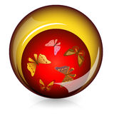 Glossy button with butterflies Royalty Free Stock Images