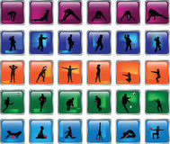 Glossy button collection with sports silhouette -. Illustration of glossy button collection with sports silhouette Stock Photo