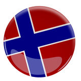 Glossy button with the flag of Norway Royalty Free Stock Photo