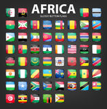 Glossy button flags - Africa. Original colors Royalty Free Stock Image