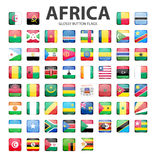 Glossy button flags - Africa. Original colors Royalty Free Stock Photography
