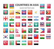 Glossy button flags - Asia. Original colors Stock Photos