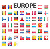 Glossy button flags - Europe. Original colors. Stock Image