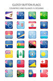 Glossy button flags - Oceania. Original colors. Glossy button flags - countries and islands in Oceania. Original colors Stock Photos