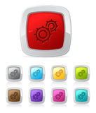 Glossy button - gears royalty free illustration