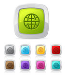 Glossy button - globe Stock Images