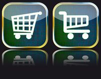 Glossy button grocery cart Royalty Free Stock Photography