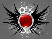 Glossy button on grunge wings. Background royalty free illustration