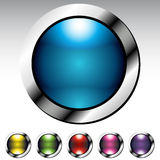 Glossy Button Metallic Set Stock Image
