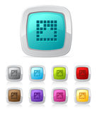 Glossy button - pixel image Stock Photo