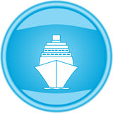 Glossy button with sea ship Stock Images