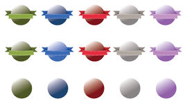 Glossy button some with banner - set 1. Round glossy buttons with two different banners and without banner in 5 different color bases: Green, blue, red, gray and Stock Illustration