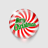 Glossy button with spiral and text Merry Christmas Stock Photos