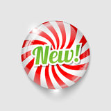 Glossy button with spiral and text NEW Royalty Free Stock Photo