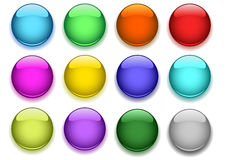 Glossy buttons. Glossy buttons with shadow on white Stock Photo