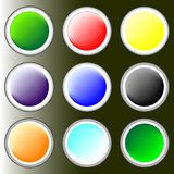 Glossy buttons. Vivid Glossy buttons in black Royalty Free Stock Images