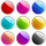 Glossy Buttons. Set of 9 glossy colorful web buttons isolated on white background Royalty Free Stock Photos
