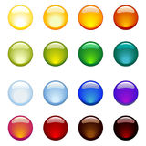 Glossy buttons. Vector-set of 16 rainbow-colored shiny web-buttons stock illustration