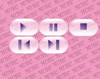 Glossy buttons. Glossy oval buttons for music with pink background Stock Images