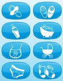 Glossy buttons - Baby icons. Stock Images