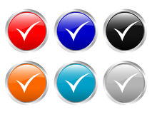 Glossy buttons check symbol Stock Images