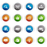 Glossy buttons - classic web icons. 16 classic web icons set Royalty Free Stock Photography