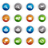 Glossy buttons - classic web icons. 16 classic web icons set Stock Photos