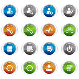 Glossy buttons - classic web icons. 16 classic web icons set Stock Images