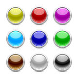 Glossy buttons in colour. Glossy buttons in different colour on Royalty Free Stock Photography