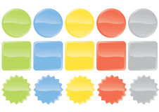 Glossy buttons. Different shaped buttons and badges in various colours. Badges suitable for illustrating a sale Royalty Free Stock Photography
