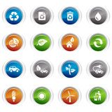 Glossy Buttons - Ecological Icons. 16 ecological and recycling icons set Royalty Free Stock Images