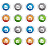Glossy Buttons - File format icons. 16 file format icons set Stock Photos