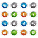 Glossy buttons - Finance icons. 16 Finance and banking icons set Royalty Free Stock Images