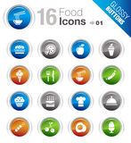 Glossy Buttons - Food Icons. 16 food and restaurant icons set Royalty Free Stock Photo