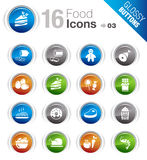 Glossy Buttons - Food Icons. 16 food and restaurant icons set Stock Images