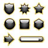 Glossy Buttons with Gold borders.  Stock Photo